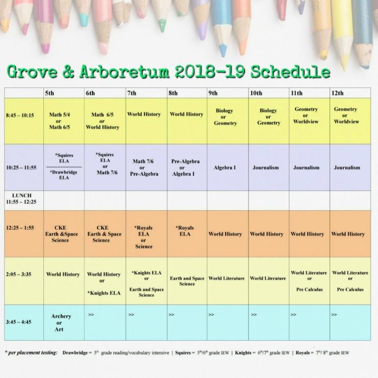 G A 18-19 schedule
