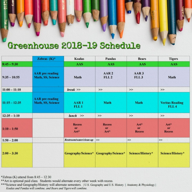 GH 18-19 schedule